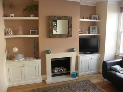 alcove units with floating shelves